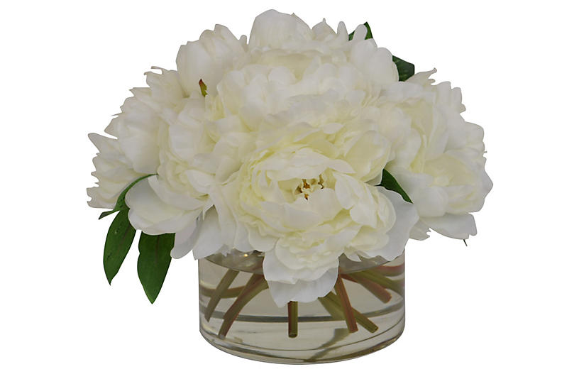 Cream Peonies in Glass Vase, Faux