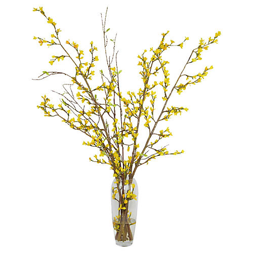 "42"" Yellow Forsythia in Glass Vase, Faux"