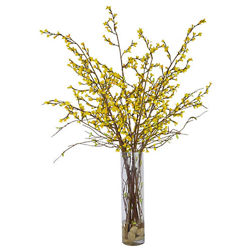 "52"" Yellow Forsythia in Glass Vase, Faux"