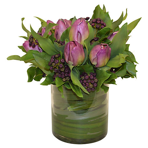 "15"" Purple Tulips in Vase, Faux"