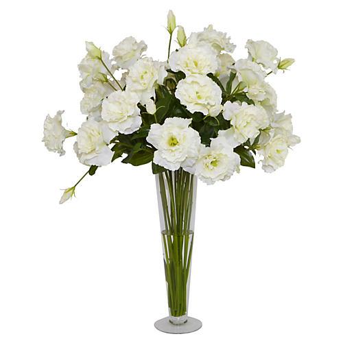 """20"""" White Lizianthus in Vase, Faux"""