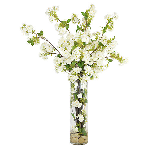 "32"" White Blossoms in Glass Vase, Faux"