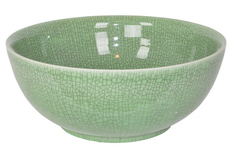 Porcelain Bowl, Crackled Green