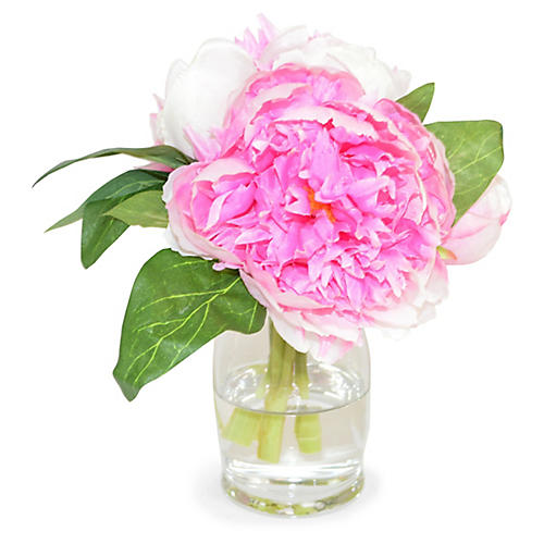 "7"" Farmington Peony Arrangement, Faux"