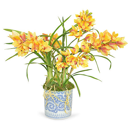"32"" Cymbidium Orchid Arrangement, Faux"