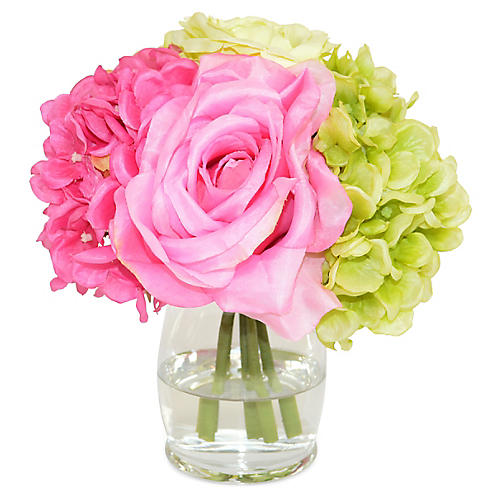 "8"" Hydrangea & Rose Arrangement, Faux"