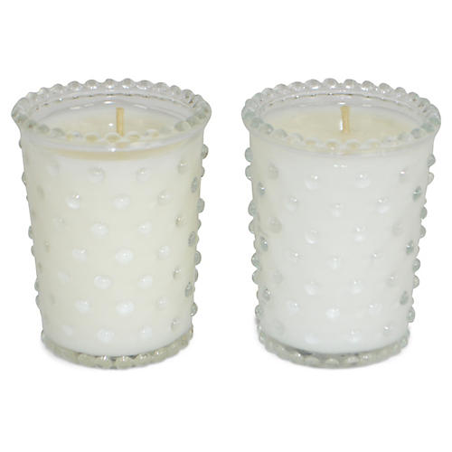 S/2 Hobnail Candles, Gardenia