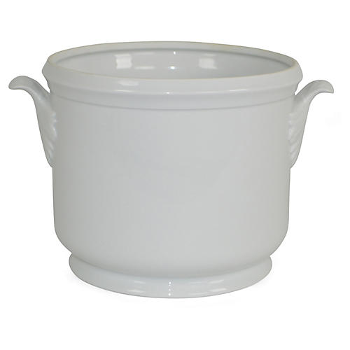 "9"" Solid Large Cachepot, White"