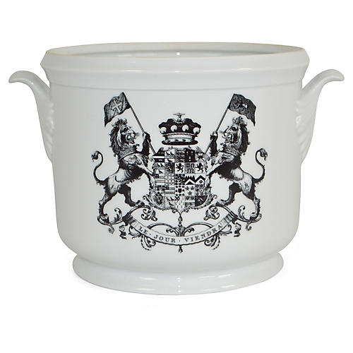 "9"" Royal Crest Cachepot, White/Black"