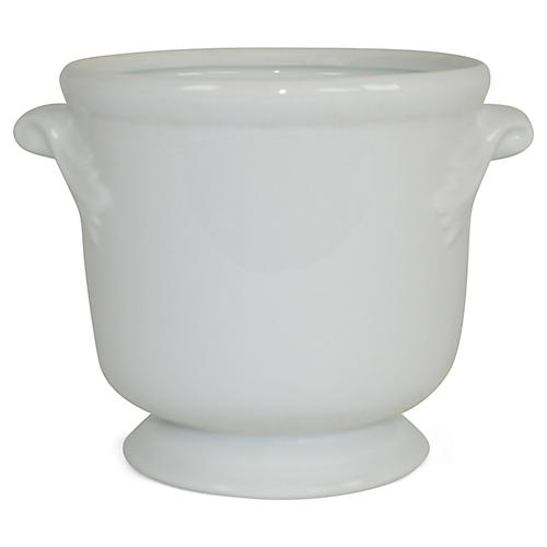 "6"" Solid Petite Cachepot, White"