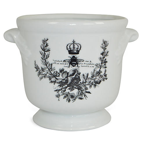 "6"" Crowned Bee Cachepot, White/Black"