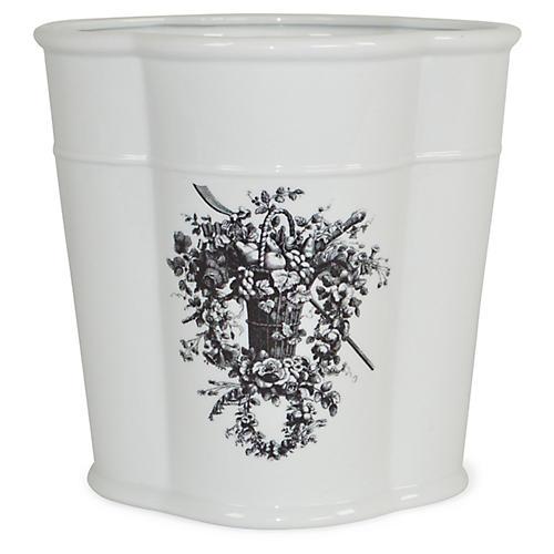 "10"" French Basket Oval Vessel, White/Black"