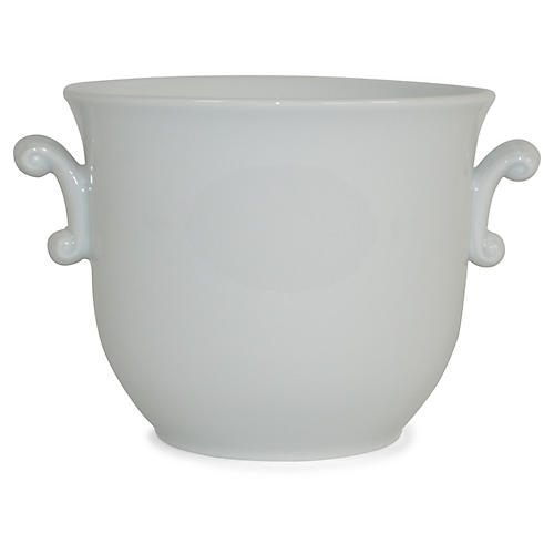 "8"" Solid Scroll-Handled Cachepot, White"