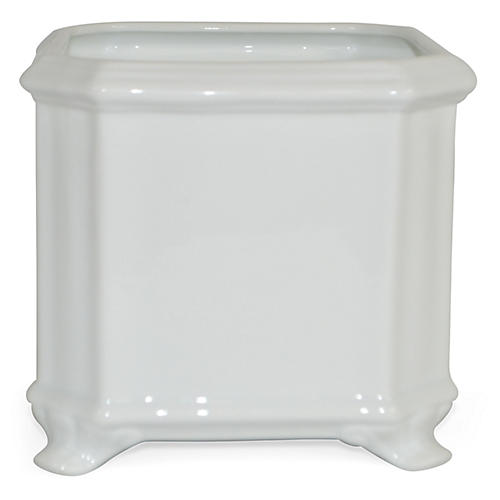 "7"" Solid Square Planter, White"