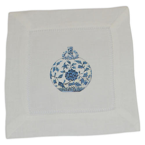 S/4 Jar Cocktail Napkins, Blue