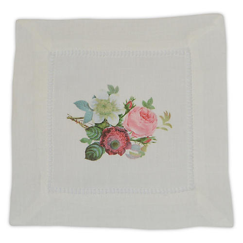 S/4 Anemone Clematis Cocktail Napkins, Pink