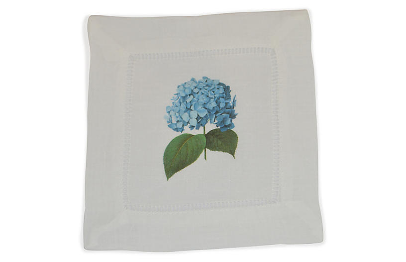 S/4 Hydrangea Cocktail Napkins, Blue