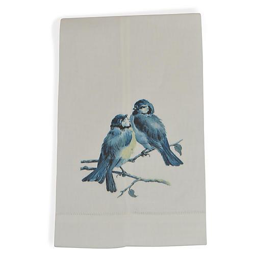 S/2 Bird Pair Guest Towels, Blue