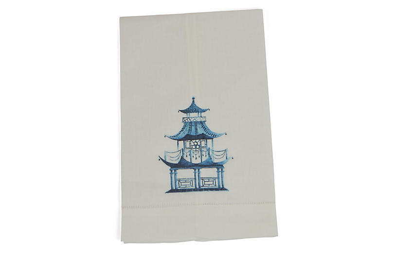 S/2 Pagoda Guest Towels, Blue