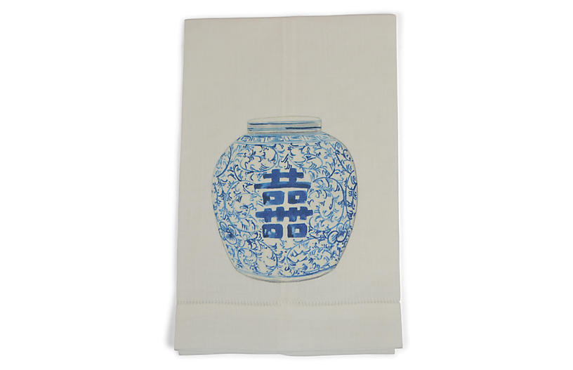 S/2 Happiness Jar Guest Towels, Blue