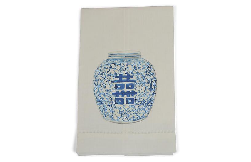 S/2 Happiness Jar Guest Towels, Blue