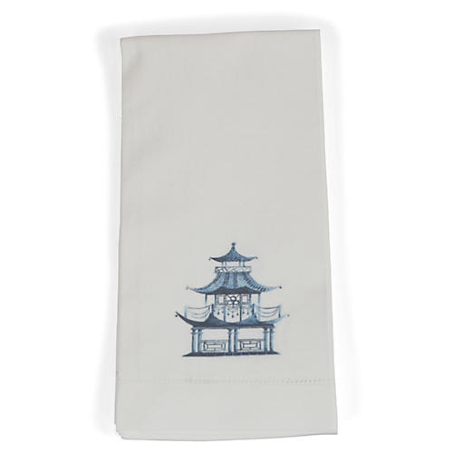 S/4 Pagoda Dinner Napkins, Blue