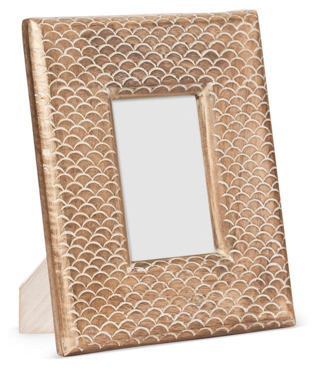 Wood Leaf Scale Frame, 4x6, Gold