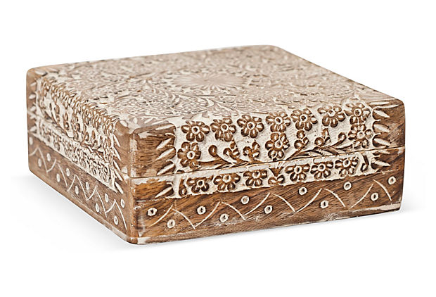 6×6 Wood Carved Box, Whitewash