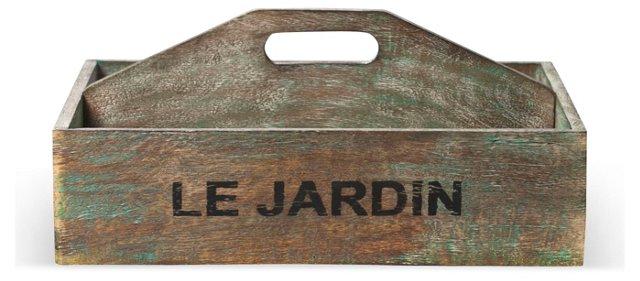 "16"" Le Jardin Wooden Crate, Brown"