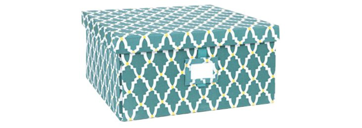 Small Lattice Box, Teal
