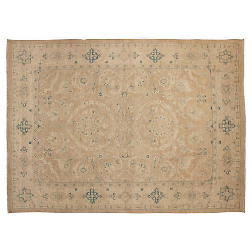 "9'x11'9"" Sun-Faded Peshawar Rug, Tan"