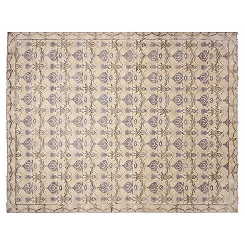 12'x15' Oushak Layan Knotted Rug, Blue