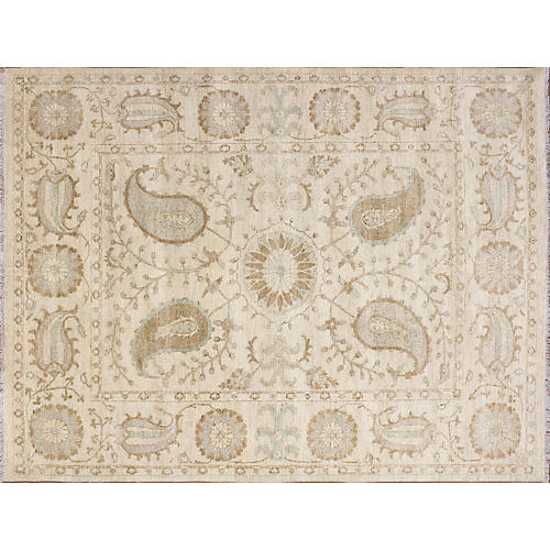 "7'10""x10' Kafkaz Rug, Ivory/Light Green"