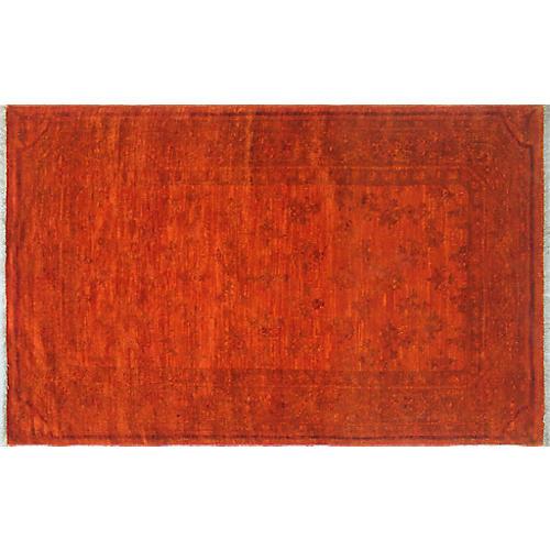 """3'2""""x5'4"""" Overdyed Chobi Naazi Rug, Orange/Red"""