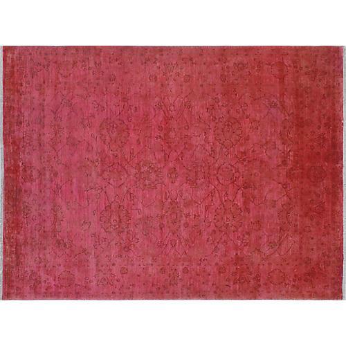 "8'1""x10'10"" Overdyed Chobi Zamarut Rug, Pink/Red"