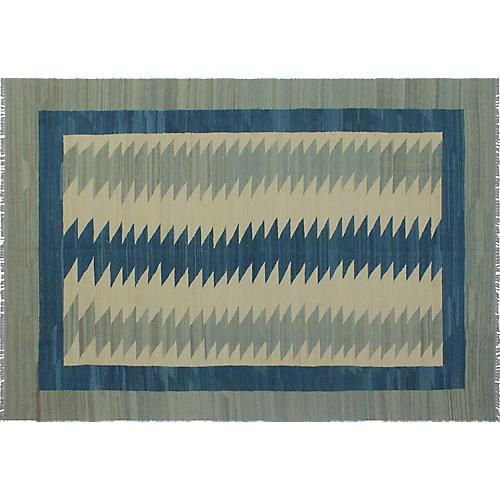"""7'1""""x10' Winchester Kilim, Gray/Blue"""