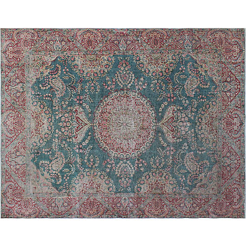 "9'4""x12'3"" Fine Vintage-Style Rug, Blue/Red"
