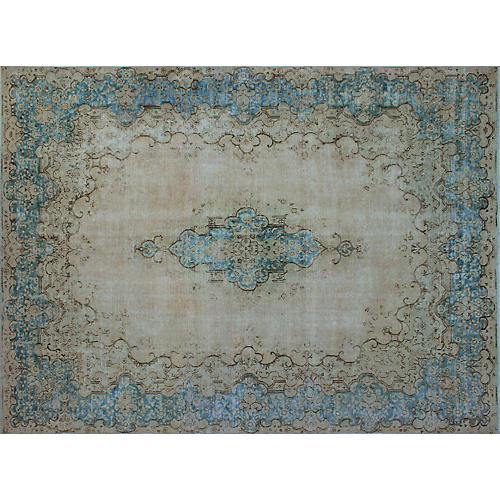 "9'6""x12'9"" Fine Vintage-Style Rug, Blue/Gray"