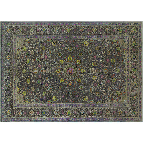 """9'6""""x13'8"""" Fine Vintage-Style Rug, Gray/Gold"""