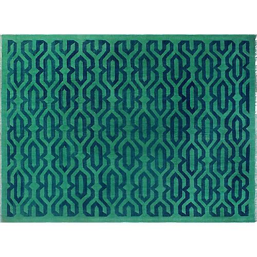 """9'1""""x12'5"""" Chuck Handwoven Rug, Green/Blue"""