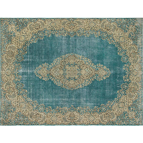 "9'11""x13'2"" Franki Hand-Knotted Rug, Blue/Beige"