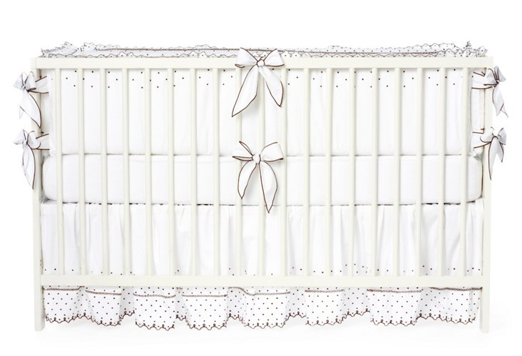 3-piece Grace Crib Set, White/Brown