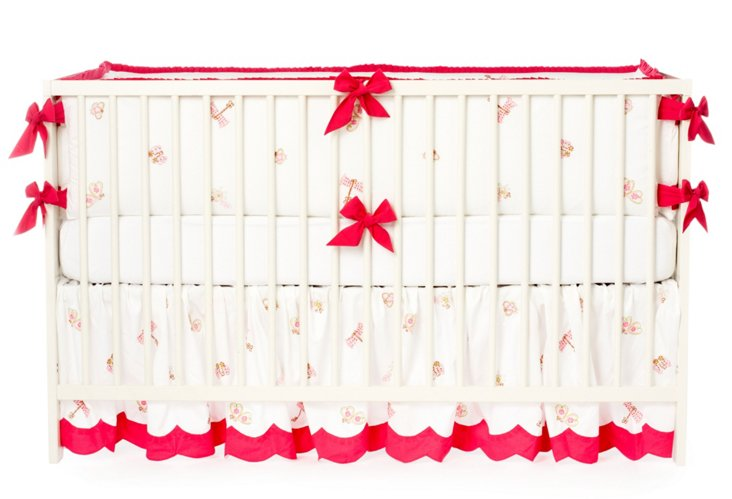 3-Piece Flies Crib Set, Hot Pink