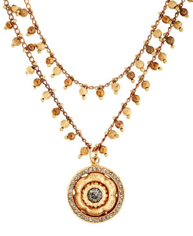 Nouveau Floral Medallion Necklace