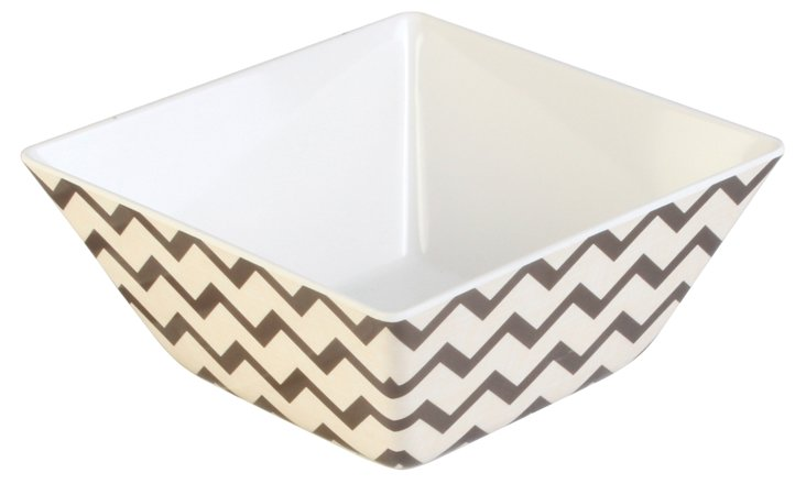 S/4 Melamine Chevron Bowls, Brown