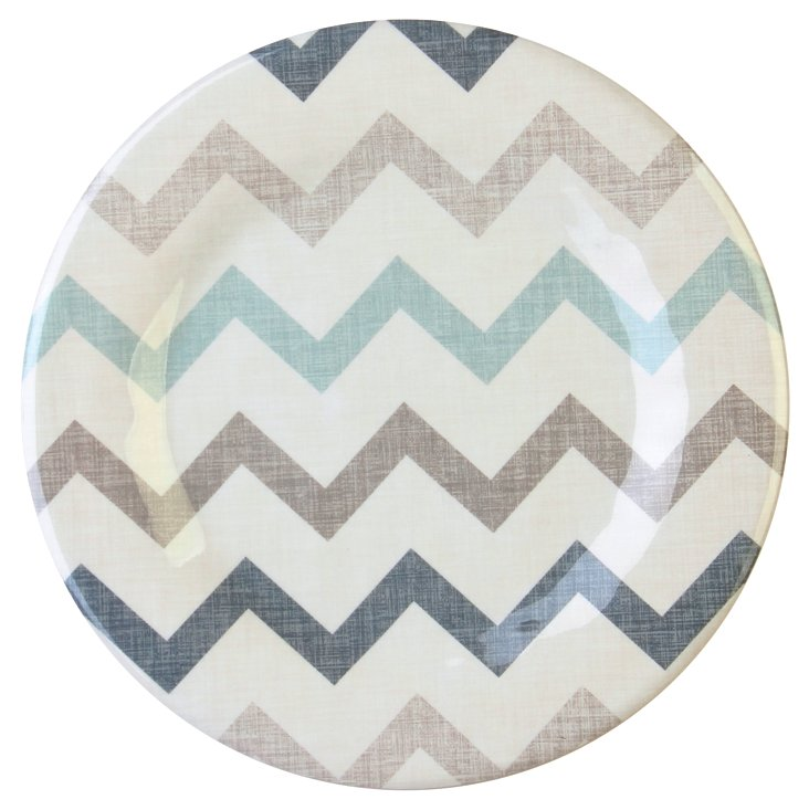 S/4 Chevron Dinner Plates, White