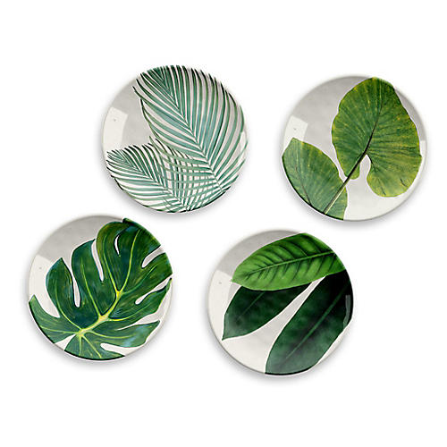 S/4 Amazon Melamine Salad Plates, Green
