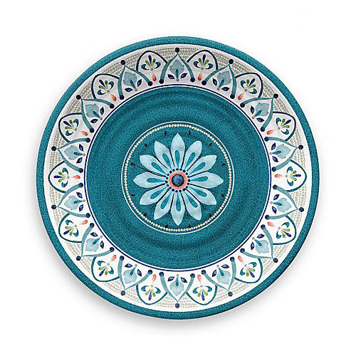 S/12 Moroccan Melamine Dinner Plates, Teal