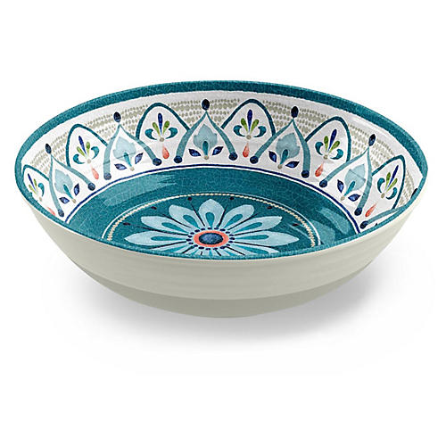 Moroccan Medallion Melamine Serving Bowl, Teal
