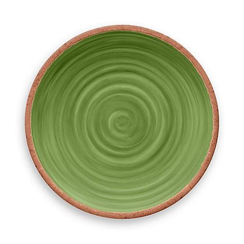 S/12 Rustic Swirl Melamine Dinner Plates, Green